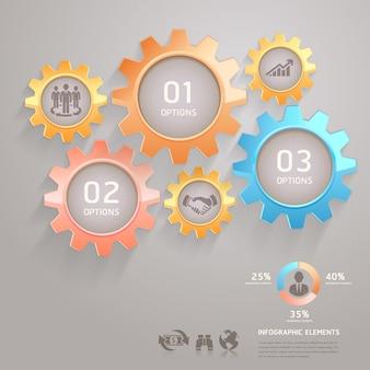 Equipe de negócios engrena opções de números de infográficos