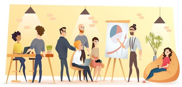 Equipe de negócios jovem no vetor de desenhos animados de coworking