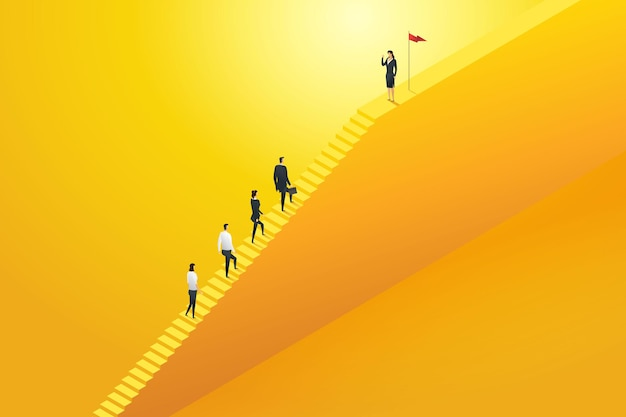 Equipe de negócios líder empresária subindo escadas passo para o sucesso vetor de ilustração de conceito