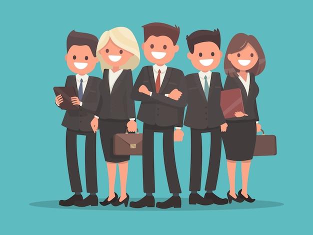 Equipe de negócios liderada pelo chefe. trabalho em equipe