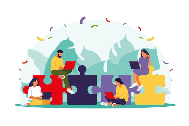 Equipe de negócios montando o quebra-cabeça. parceiros de desenho animado trabalhando em conexão. Vetor Premium