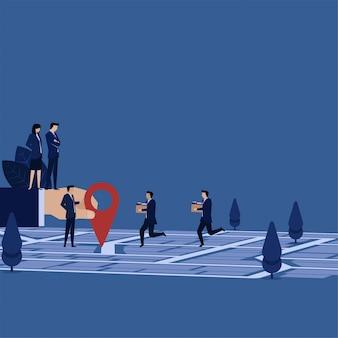 Equipe de negócios mover-se para nova metáfora de área de movimento.