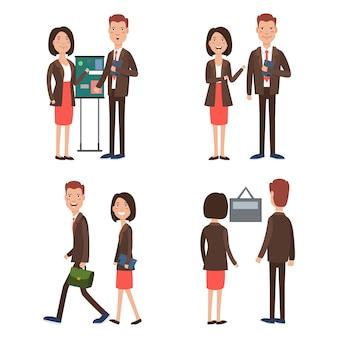 Equipe de negócios no trabalho conjunto de caracteres