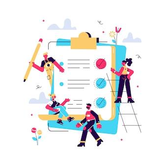 Equipe de negócios preencher lista de verificação em um papel de transferência. lápis grande, missão concluída ilustração do conceito, trabalho em equipe