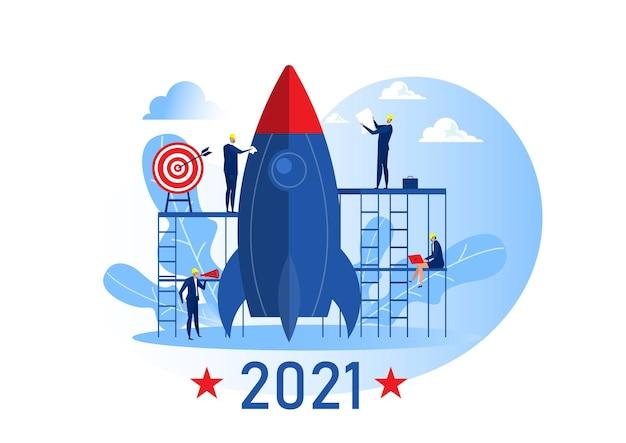 Equipe de negócios preparar lançamento de foguete iniciar objetivo de negócio 2021 anos ilustração em vetor conceito