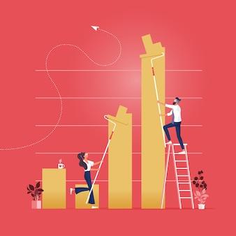 Equipe de negócios que pinta o conceito financeiro do sucesso do gráfico de barra-finanças