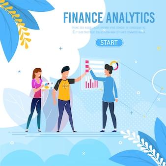 Equipe de negócios, realizando o banner de finanças analíticas