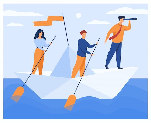 Equipe de negócios remando barco corporativo