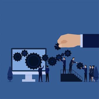 Equipe de negócios, reparação de engrenagens na metáfora do monitor de atualização e reparação.