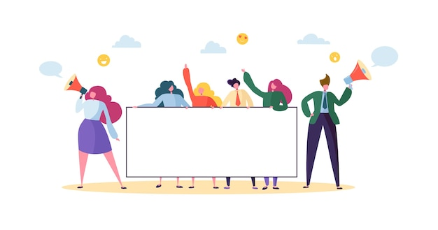 Equipe de negócios segurando a bandeira vazia horizontal. pessoas felizes com outdoor em branco. apresentação do conceito de publicidade do trabalho em equipe, anúncio.