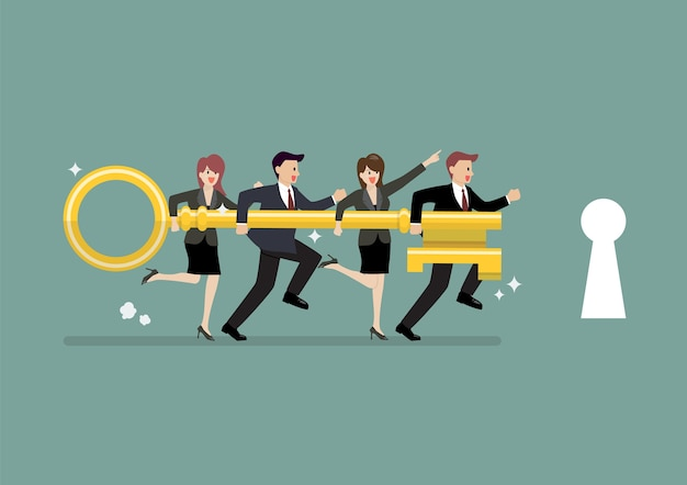 Equipe de negócios, segurando a chave de ouro para desbloquear o bloqueio