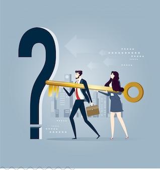 Equipe de negócios, segurando a chave. ilustração do conceito de negócio