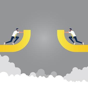 Equipe de negócios tentando unir o caminho quebrado para chegar ao sucesso