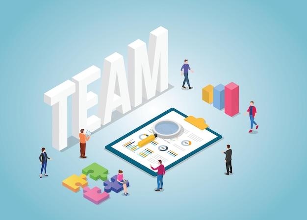 Equipe de negócios trabalha em conjunto com gráfico e gráfico com estilo isométrico moderno