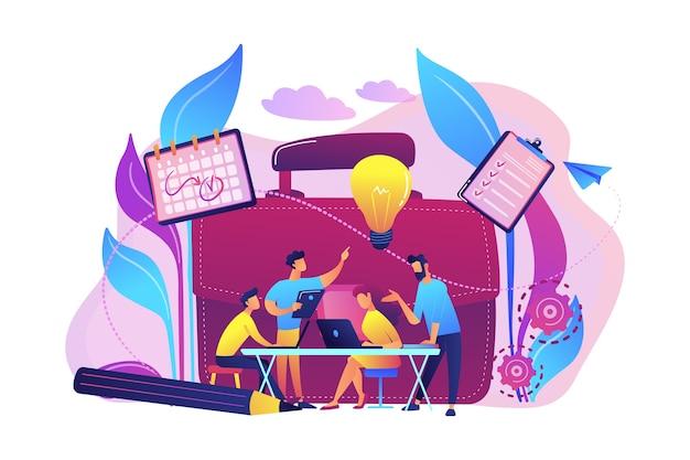 Equipe de negócios trabalha em conjunto com laptops e ilustração de lâmpada.