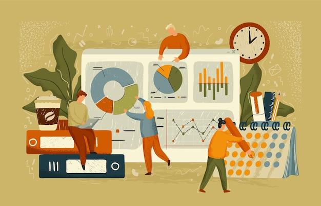 Equipe de negócios trabalhar com ilustração em vetor conceito painel. cartazes de análise de dados desenhados à mão. as pessoas trabalham com gráfico de dados, relatórios financeiros. projeto de negócios e escritório.