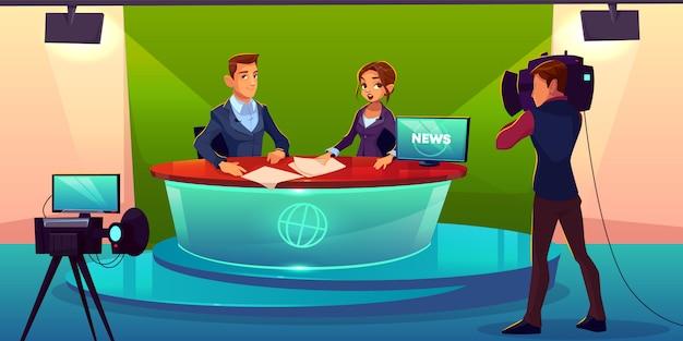 Equipe de noticiários ao vivo dos desenhos animados de transmissão.