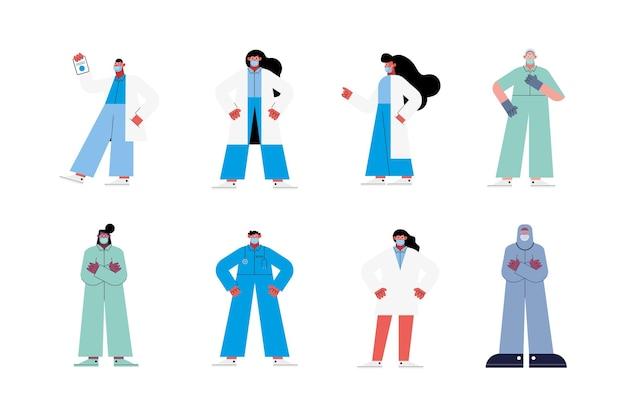 Equipe de oito médicos
