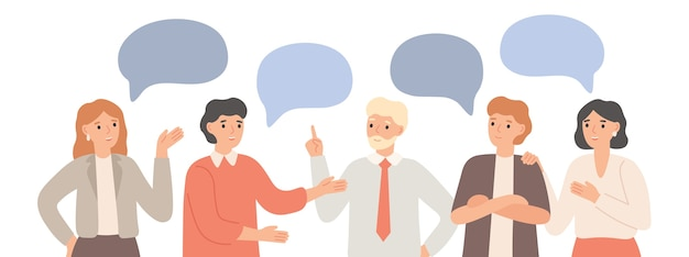 Equipe de pensamento. comunicação do trabalho em equipe, funcionários de escritório se comunicam e discutem o projeto