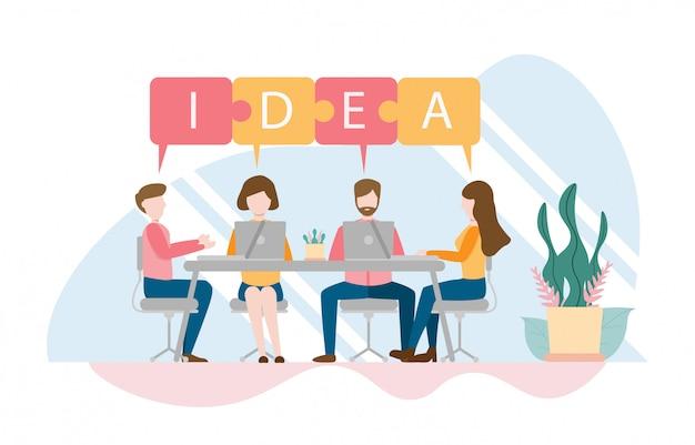Equipe de pensamento e conceito de brainstorming com caráter
