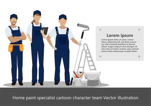 Equipe de personagem de desenho animado de especialista em pintura em casa