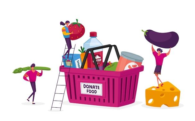 Equipe de personagens voluntários trabalhando em um centro de doação de alimentos, compartilhando produtos