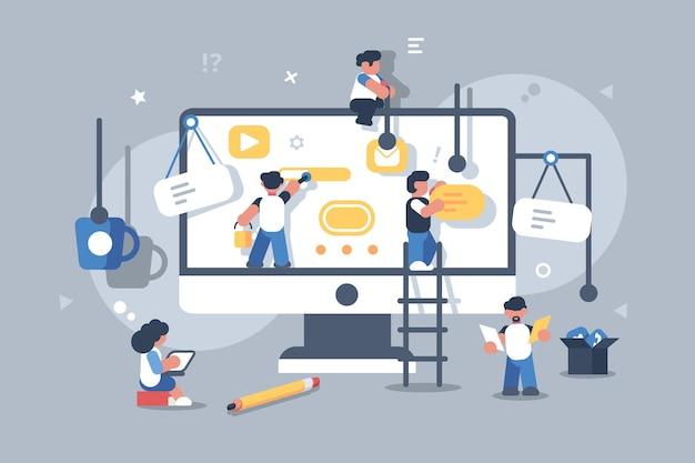 Equipe de pessoas construindo ou projetando um aplicativo de computador