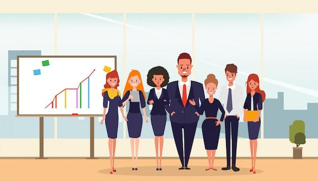 Equipe de pessoas de negócios em apresentar o quadro branco.