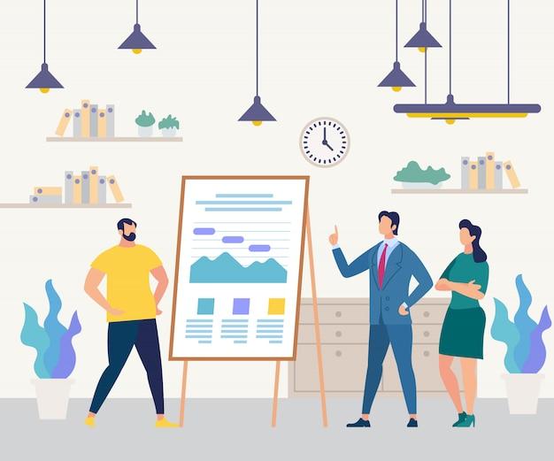 Equipe de pessoas de negócios flip chart training seminário