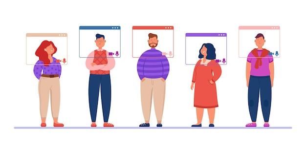 Equipe de pessoas do escritório em reunião virtual