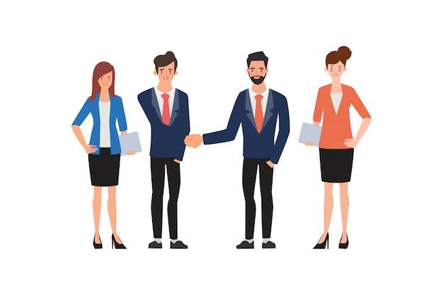 Equipe de pessoas do grupo de negócios agitando as mãos em negócios.