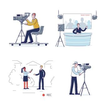 Equipe de produção de notícias de tv: apresentador de desenho animado em estúdio, jornalista fazendo entrevista, operadores de vídeo e cinegrafista
