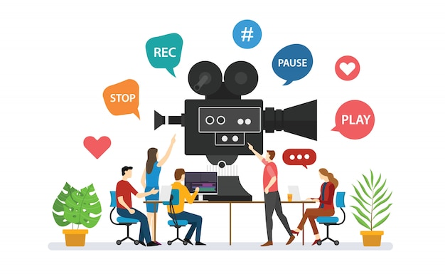 Equipe de produção de vídeo para produção de filmes com discussão de pessoas, em conjunto com o moderno estilo simples - vetor