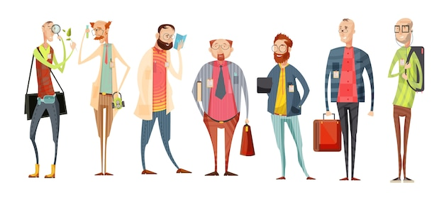 Equipe de professores coleção de desenhos animados retrô com variedade de homens em copos com ilustração vetorial de crachás