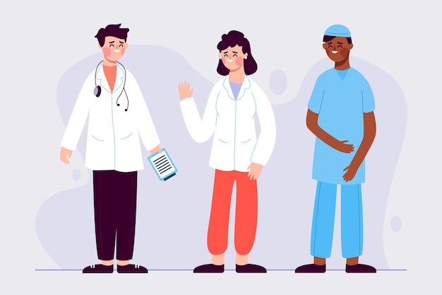 Equipe de profissionais de saúde com médico e enfermeiro