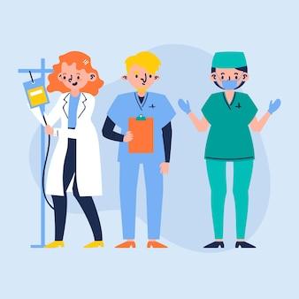 Equipe de profissionais de saúde de ilustração
