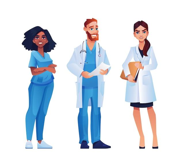 Equipe de profissionais de saúde de médicos e enfermeiras