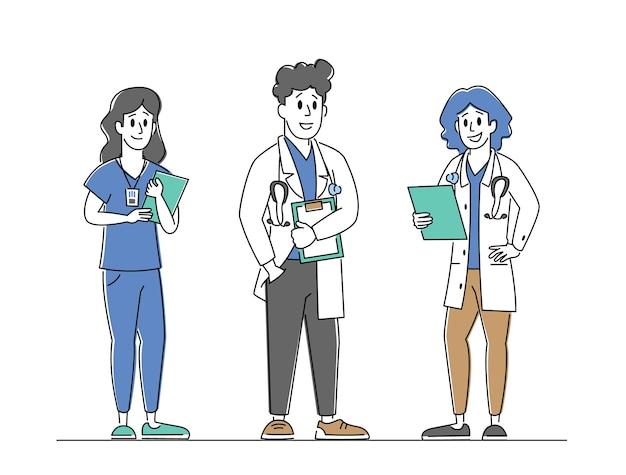Equipe de profissionais de saúde do hospital no trabalho médicos personagens em vestes médicas