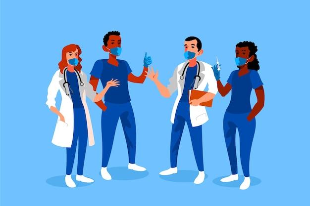 Equipe de profissionais de saúde usando máscaras
