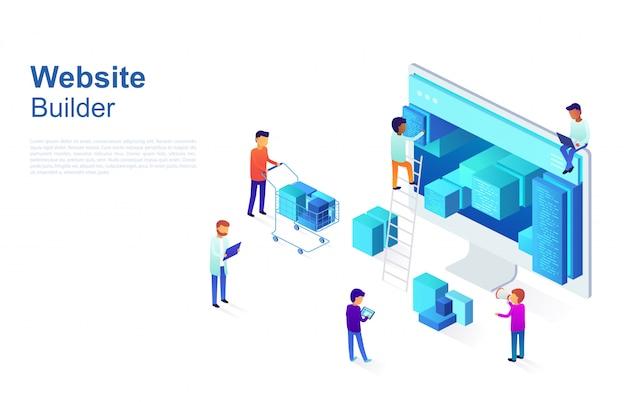 Equipe de programadores faz design de página web, estrutura de site. conceito de negócio de desenvolvimento de design ui / ux, otimização de seo.