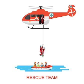 Equipe de resgate com resgate de helicóptero e barco de resgate.
