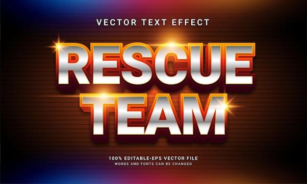 Equipe de resgate com tema de efeito de texto editável oficial de resgate
