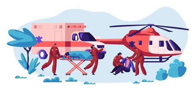 Equipe de resgate profissional cuide de sua vida. caráter de saúde de transporte rápido, helicóptero e veículo de acidente e transporte para hospital urgente. ilustração em vetor plana dos desenhos animados