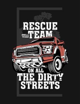 Equipe de resgate, super carro offroad