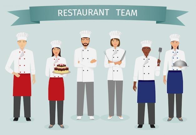 Equipe de restaurante. grupo de personagens juntos. chef, cozinheiro e confeiteiro de uniforme.