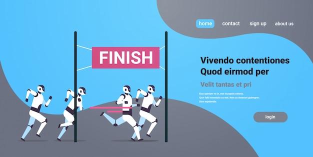 Equipe de robôs modernos corrida concorrente para a linha de chegada tecnologia de inteligência artificial