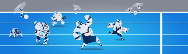 Equipe de robôs modernos