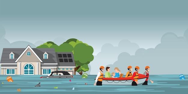 Equipe de salvamento que ajuda povos empurrando um barco.