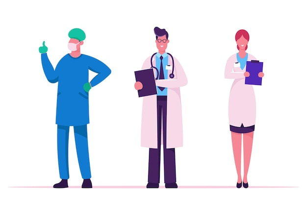 Equipe de saúde do hospital. ilustração plana dos desenhos animados