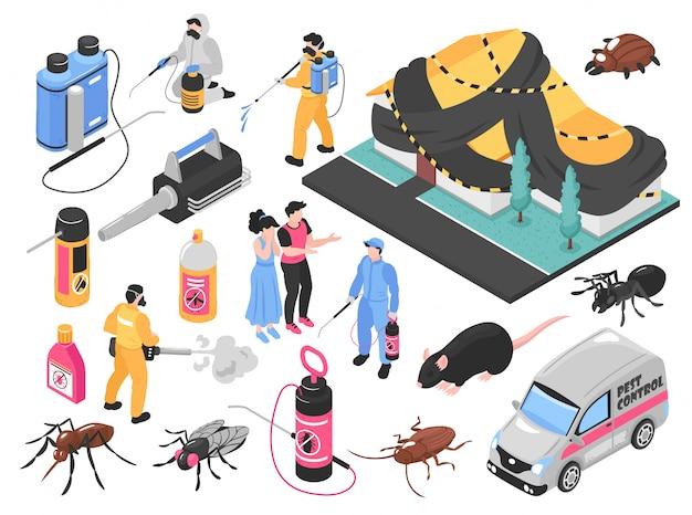 Equipe de serviço de controle de pragas removendo bugs exterminando ratos ferramentas equipamentos produtos clientes auto conjunto isométrico
